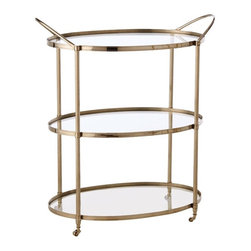 Arteriors - Connaught Bar Cart, Polished Nickel - Timelessly elegant with its clear glass shelves and metal frame, this artisan designed bar cart serves up a classy party. Clean, simple lines with a subtle sheen make the perfect frame for displaying your fine glasses and top shelf bottles.