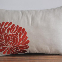Orange Aster Lumbar Pillow Cover By KainKain - An aster bloom embroidered onto a linen cover is a simple floral statement. Patterns and colors don't have to be so in your face. Try subtle touches for a lighter touch.