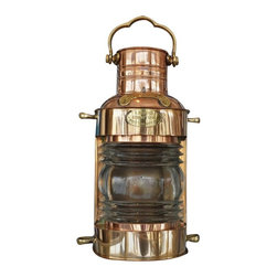 Handcrafted Nautical Decor - Copper Lookout Oil Lamp 14'' Nautical Oil Lamp Nautical Table Lamp Oil Lamps - Featuring a working Fresnel lens, this classically styled lantern is a fully functional oil lamp that you can actually light and use. Expertly handcrafted from copper sheeting with brass fittings to create an accurate replica masthead lookout lamp as used on historical wooden tall ships, this lantern is true to the original design of period lamps. The lookout oil lantern also features a handle which allows the lamp to be hung on a hook or rope in a patio or garden, or placed on an outdoor table to provide stylish ambient light.--5'' Long x 5'' Wide x 14'' High----    Handcrafted oil navigational lamp--    Polished copper finish shines beautifully--    Brass fittings accent and compliment the      copper lamp body--    Fresnel lens shines great distances--    Fully functional oil lamp just add      oil (sold      separately) --    --