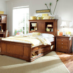 """Lea Industries - Lea Elite Classics 3 Piece Bookcase Kids' Bedroom Set in Brown Cherry - Welcome to the Lea Elite Collections, Classics. A clean, traditional group with Louis Phillipe design influences such as heavy mouldings and bases with broad plasters. Tops and door panels on case pieces are accentuated with black marquetry style inlays. The finish is a medium brown cherry color. The custom designed hardware knobs are in a soft silver with gold color overtones. The design of this collection lends itself to fit into any bedroom setting: boys, girls, 2nd bedroom or even smaller master bedrooms. Classics is a versatile group that offers a lasting style that works in multiple settings depending on bedding and accessories. - 816-935-45-55-BCB-3-SET.  Product features: Belongs to Elite Classiscs Collection; Twin Bookcase Bed: 45""""W x 76""""D x 54""""H; Full Bookcase Bed: 60""""W x 76""""D x 57""""H; Queen Bookcase Bed: 67""""W x 82""""D x 57""""H; 3 Openings with 1 Sliding Door; Center Opening has Cork Back Panel; Left Opening has 3 Outlet Box w/1 USB Port; 1 Phone Jack; 1 Data Port & Lid; Outside Opening: W18 D10 H17 2; Center Compartment: W16 D9 1/2 H117 1/2; Adjustable Shelf: W10; Includes bookcase headboard, wood rails with slats and slat pack; Bed has lock two rails heights; Headboard is bored for frame and has two open compartments on ends with an adjustable shelf in each, power bar and sliding door in center with cork panel in back; Optional Dual Function Underbed Storage Unit can be used as storage drawer or trundle; Traditional Style; Available in Twin, Full or Queen sizes; Soft silver/gold overtone color hardware; Crafted of hand selected sliced Cherry veneers; Medium brown Cherry finish. Product includes: Bookcase Bed (1); Nightstand (1); Underbed Drawer Box (1). 3 Piece Bookcase Kids' Bedroom Set in Brown Cherry belongs to Elite Classics Collection by Lea."""
