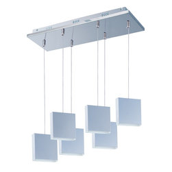 ET2 - ET2 Brick Pendant Light X-CP16-66222E - Brick's rectangular blocks of metal, finished in lustrous Polished Chrome, are trimmed on the bottom with a White acrylic diffuser that radiates in the night. The long-life 40,000 rated life hour 3500 K LED source provides for energy saving illumination, excellent color rendition and low maintenance.