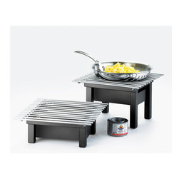 Cal Mil - 12W x 12D x 7H One by One Chafer Alternative Black 1 Ct - Cook serve and showcase your delicious arrangements of food with this great alternative to conventional chafers It features a black modern style chafer and grill that allows you to serve and display your dishes with some style. With it s modern frame and bold grill it will complement any buffet table at your restaurant hotel or catering event