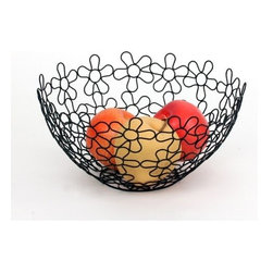Spectrum Diversified Designs - Shapes & Flowers Fruit Bowl - Black - Display your fruits and vegetables in style with the Flower Shapes Round Fruit Bowl. The fun and interesting shapes make a delightfully modern piece that will add a whimsical touch to your home. Made of sturdy steel, this bowl is the perfect addition to your home whether you are serving bread rolls, storing fruits, or displaying decorative ornaments during the holidays.