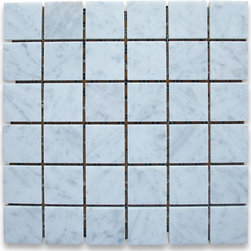 "Stone Center Corp - Carrara Marble Square Mosaic Tile 2x2 Honed - Carrara white marble 2"" x 2"" square pieces mounted on 12"" x 12"" sturdy mesh tile sheet"