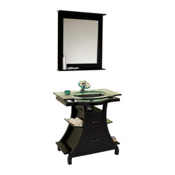 "Fresca - Fresca Cortese Espresso Vanity w/ Mirror - Dimensions of vanity:  31.75""W x 22""D x 32.5""H. Dimensions of mirror:  27.63""W x 31.5""H x 4""D. Materials:  Solid wood frame, tempered glass countertop/sink. Single hole faucet mount. P-trap, faucet, pop-up drain and installation hardware included. This vanity is for those looking for a more antique or classical look for their smaller bathroom.  Rich espressso color with glass accent shelving and counter top highlight the curves and balance of this vanity.  Comes with oak mirror with attached shelf."