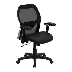 Flash Furniture - Flash Furniture Mid-Back Super Mesh Office Chair w/ Black Italian Leather Seat - This value priced mesh office task chair will accommodate your essential needs for your home or office. chair features a breathable mesh back with a comfortably padded seat. The silver accented back adds a touch of flair to highlight your work space. [LF-W42B-L-GG]