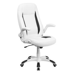 Flash Furniture - High Back White Leather Executive Office Chair with Flip-Up Arms - Set yourself apart by getting away from the normal office chair with this soft White Leather Executive Office Chair by Flash Furniture. This chair has an attractive design with black insets, flip-up arms and nylon base with black caps that prevent feet from slipping.