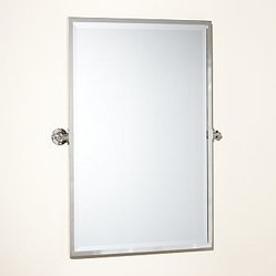 Kensington pivot mirror extra large rectangle polished - Bathroom mirror mounting hardware ...