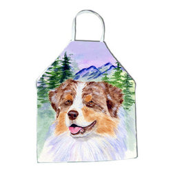 Caroline's Treasures - Australian Shepherd Apron SS8001APRON - Apron, Bib Style, 27 in H x 31 in W; 100 percent  Ultra Spun Poly, White, braided nylon tie straps, sewn cloth neckband. These bib style aprons are not just for cooking - they are also great for cleaning, gardening, art projects, and other activities, too!