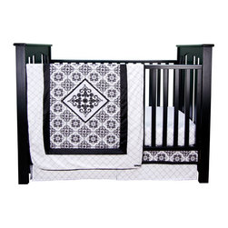 """Trend Lab - Versailles Black & White - 3 Piece Crib Bedding Set - Add style and sophistication to your nursery with Trend Lab's Versailles Black & White 3 Piece Crib Bedding Set. The modern black and white colors offer high-contrast style featuring filigree motifs reminiscent of vintage damask wallpaper. Beautiful over-sized embroidery, a diamond print and black satin bring detail and finishing touches of elegance to this lovely group. Accent with fashionable colors of your choice to make the look your own! Set includes quilt, crib sheet and skirt. The quilt measures 35"""" x 45"""" and features a black and white damask print framed by black satin and a black and white diamond print. A large filigree embroidery inside a black satin frame at the center of the quilt brings textured elegance while a black satin trim adds the finishing touch. Black and white diamond print crib sheet has 10"""" deep pockets and fits a standard 52"""" x 28"""" crib mattress. Elastic around the entire opening ensures a more secure fit. Box pleat skirt with 15"""" drop features strips of the black and white damask and diamond prints separated by black satin. Matching Versailles Black & White Crib Bumpers sold separately. Complete your nursery with coordinating room accessories from the Versailles Black & White collection by Trend Lab."""