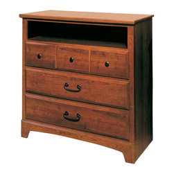 Standard Furniture - Standard Furniture City Park 3-Drawer TV Chest in Cherry - City Park is a preservation of distinct craftsman looks. Extra deep storage space, including a sweater drawer in chest and dresser. Dresser drawers are double bluff cut to enhance design. The case pieces incorporate two different hardware designs to add visual interest. Multiple slats in bed and arched top rail above mirror showcase the craftsmanship of this appealing collection. Crowns on bed and mirror are enhanced with an ornamental metal rosette. The metal pulls are enhanced by an antique pewter color finish and brass color highlights. Cherry color and star pattern finish present a charming and captivating presence. Quality wood products bonded together creates durable construction throughout.