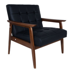 #N/A - Adrian Arm Chair - Adrian Arm Chair. Arm chair in ash wood walnut finish  with tuffed seat and back  made from black PU material