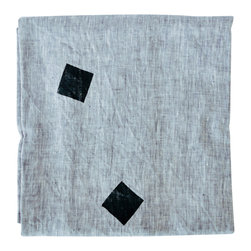 Linen Throw - Square Drops Gray - Soft gray linen throw with black squares. Perfect for a tablecloth, couch throw, beach blanket, wrap dress and anything else you can think of. Individually block printed by hand with non-toxic acrylic ink. Each blanket is pre-washed and ready to be loved.