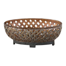 Carolyn Kinder - Carolyn Kinder Teneh Traditional Bowl X-93591 - This decorative bowl features a lattice weave design and has a copper bronze finish with a verdigris glaze and black crackled base.