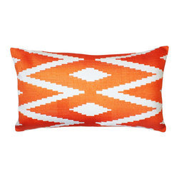 1414 Home - Modern Ethnic Embroidered Cotton Throw Accent Pillow Cover, Orange, 14x24 - Embroidered design inspired by ethnic patterns.  100% cotton.  Embroidered.  Hidden zipper closure.  Down insert.