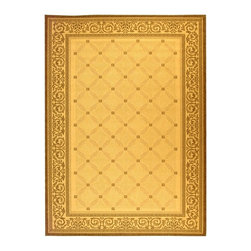Safavieh - Gold and Brown Rug with Scroll Border (2 ft. x 3 ft. 7 in.) - Size: 2 ft. x 3 ft. 7 in. Machine Made. Made of Polypropylene.