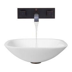 Vigo Industries - 16.5 in. Square Vessel Sink with Faucet - The VIGO Square Shaped Phoenix Stone Vessel Sink with Antique Rubbed Bronze Wall Mount Faucet merges elegant and contemporary design into one. Phoenix Stone is a revolutionary new blend of crystallized glass and stone resulting in a highly durable complex material.