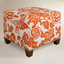World Market - Tangerine Canary McKenzie Ottoman - I'm loving the bold print on this ottoman as a statement piece in my living room. I just need to get rid of all the other statement pieces first.