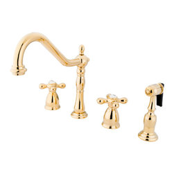 "Kingston Brass - 8"" Center Kitchen Faucet with Brass Sprayer - Victorian style Two Handle Deck Mount, 4 hole Sink application, 8"" Widespread, Solid Brass Side Spray, Fabricated from solid brass material for durability and reliability, Premium color finish resist tarnishing and corrosion, 360 degree turn swivel spout, 1/4 turn On/Off water control mechanism, 1/2"" - 14 NPS male threaded inlets, Duraseal washerless valve, 2.2 GPM (8.3 LPM) Max at 60 PSI, Integrated removable aerator, 8-1/4"" spout reach from faucet body, 9-1/4"" overall height, Ten Year Limited Warranty to the original consumer to be free from defects in material and finish.; Brass Sprayer Included; 1/4 Turn Washerless Cartridge; Metal Cross Handle; PVD polished Brass Finish; 4 Holes Installation with an 8-1/4"" spout reach; Material: Brass; Finish: Polished Brass Finish; Collection: Heritage"