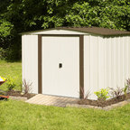 Arrow Sheds - Arrow Newburgh 8x6-foot Storage Shed - This tough and rugged shed is poised to keep your gardening or any other equipment safe from the elements. With sliding doors for easy entry and exit,this DIY assembled shed from Arrow features electro galvanized steel for corrosion resistance.