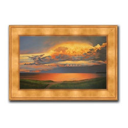 """Patrice Procopio - Sunset 20 x 28 Print - """"Sunset"""" is a landscape canvas giclee by Patrice Procopio. We present this to you in a gold panel frame with raised back and lip. This makes an overall framed size of 20 x 28."""