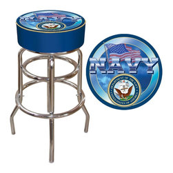 Trademark Global - Bar Stool w Padded Seat & United States Navy - Your years of service will never be forgotten with the addition of this stylish bar stool to your home's decor. The stool features a steel frame with a polished chrome tone finish and a generously padded vinyl seat with the United States Navy emblem on the top. Adjustable levelers. Long lasting officially licensed NHL logo. Great for gifts and recreation decor. 7.50 in. High padded seat. 30 in. High bar stool great for bar pub table and bars. Commercial grade vinyl seat. Chrome plated double rung base. 14.75 in. W x 14.75 in. D x 30 in. H (17 lbs.)This US Navy Bar Stool will be the highlight of your bar and game room.