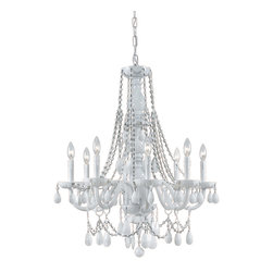 Crystorama - Crystorama 1078-WW-WH-MWP Envogue 8 Light Chandeliers in Wet White - The Envogue collection is traditional, timeless, elegant and romantic, with such details as opulent, all-white glass arm chandeliers and hand cut white crystal jewels.