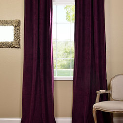 Eggplant Grommet Velvet Blackout Curtain - Our soft plush pile Velvet Curtains & Draped have a natural luster with a depth of color that creates a formal, polished look. Made of high-quality, poly velvet and soft flowing polyester blackout thermal lining. The curtains keep the light out and provides for optimal insulation.