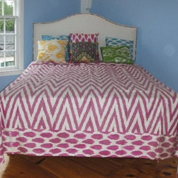 Ikat comforter - King size ikat bed cover with contrating organic cotton sateen backing.