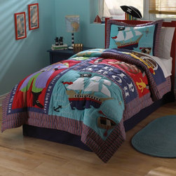 Pem America - Pem America Pirates Treasure Quilt Set Multicolor - QS2892TW-2600 - Shop for Bedding Sets from Hayneedle.com! Ahoy mateys -- your little pirate will dream up plenty of high-sea adventures with the Pem America Pirates Treasure Quilt Set! This fun set features lots of brightly colored boats swords and other pirate icons perfect for any little boy's room. This durable quilt set is made from 100% cotton fabric with hypoallergenic polyester fill. It's also machine washable for easy care.Quilt Set Components:Twin: Quilt 1 pillow shamFull/Queen:Quilt 2 pillow shamsDimensions:Twin Quilt: 86L x 68W inchesFull/Queen Quilt: 86L x 86W inchesPillow Shams: 26L x 20W inchesAbout Pem AmericaMakers of high quality handcrafted textiles Pem America Outlet specializes in bedding that enhances your comfort and emphasizes the importance of a good night's rest. Quilts comforters pillows and other items for the bedroom are made with care and craftsmanship by Pem America. Their products cover a wide range of materials styles colors and designs all made with long-lasting quality construction and soft long-wearing materials. Details like fine stitching embroidery and crochet decorations and reinforced seaming make Pem America bedding comfortable and just right for you and your family.
