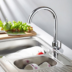 Kitchen Sink Faucets - Contemporary Solid Brass Kitchen Faucet - Chrome Finish-- FaucetSuperDeal.com