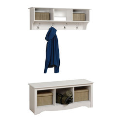 Prepac - Prepac Sonoma White 2 Piece Entryway Set - This intelligent & practical storage design is well suited for any front hallway, mudroom or home office. The three storage compartments are ideal for hats, gloves and schoolbooks while four large hooks hold coats & jackets. Comes with our easy to install, two-piece hanging rail system and is an ideal companion piece for the Cubbie Bench. Constructed from a combination of high quality, laminated composite woods with an attractively profiled MDF top. This practical storage design is well suited for any front hallway or mudroom, or at the foot of a bed as the perfect companion to Platform Storage Beds and Headboards. Under the bench, storage compartments are ideal for storing blankets, shoes, baskets and books. Constructed from a combination of high quality, laminated, composite woods with attractive profiled MDF top and moldings. Available in Black, Espresso, Maple or White Finish.
