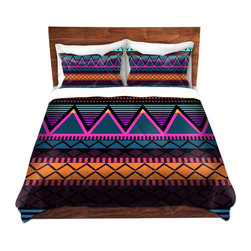DiaNoche Designs - Duvet Cover Microfiber by Organic Saturation - Neon Modern Tribal - Super lightweight and extremely soft Premium Microfiber Duvet Cover in sizes Twin, Queen, King.  This duvet is designed to wash upon arrival for maximum softness.   Each duvet starts by looming the fabric and cutting to the size ordered.  The Image is printed and your Duvet Cover is meticulously sewn together with ties in each corner and a hidden zip closure.  All in the USA!!  Poly top with a Cotton Poly underside.  Dye Sublimation printing permanently adheres the ink to the material for long life and durability. Printed top, cream colored bottom, Machine Washable, Product may vary slightly from image.
