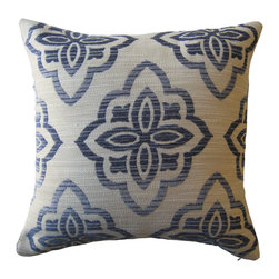 KH Window Fashions, Inc. - Chenille Texture Medallion Pillow, Without Insert - Bold geometric patterns are a hot design trend right now.  Update your room with this chenille texture blue and ivory pillow.