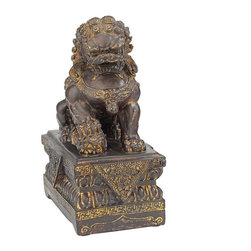 "EttansPalace - 9""H Tall Chinese Male Lion Foo Dog Bronze Statue - Adopt the ancient guardian lions who have traditionally stood before Chinese Imperial palaces, tombs, temples, government offices and homes of important officials since the Han Dynasty in 206 BC. Cast in quality designer resin to capture details including the xi qi ball under the male's right paw and the cub under the female's left paw, the foo dogs are highlighted with a warm bronze finish. These oriental yin and yang collectibles are sized for home, gallery or gift-giving. This three-dimensional, quality Asian decor piece is - as you'd expect Each 4.5""W x 7""D x 9""H. 1 lb."