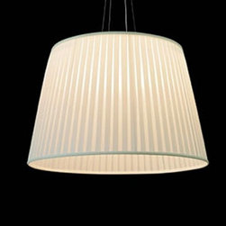 """Dix Heures Dix - Dix Heures Dix Neo pendant light - The Neo pendant light by  Dix Heures Dix has been designed by Fabrice Berrux. This suspension mounted  luminaire is perfect for incandescent or compact fluorescent lighting. This  fixture is composed of single pleated fabric available in: white, ivory, red or black. A premium metal canopy along with quality suspension cables also make up this light. The Neo presents a clean and elegant look while effortlessly providing beautiful and precise illumination.  Adjustable height. CE listed.  Product  description: The Neo pendant light by  Dix Heures Dix has been designed by Fabrice Berrux. This suspension mounted  luminaire is perfect for incandescent or compact fluorescent lighting. This  fixture is composed of single pleated fabric available in: white, ivory, red or black. A premium metal canopy along with quality suspension cables also make up this light. The Neo presents a clean and elegant look while effortlessly providing beautiful and precise illumination.  Adjustable height. CE listed. Details:                         Manufacturer:            Dix Heures Dix                                    Designer:                         Fabrice Berrux                                         Made  in:            France                            Dimensions:                        Overall Height: Max 78.7"""" (200 cm) X Shade Height: 23.6"""" (60 cm) Shade Diameter: 35.4"""" (90 cm)                                          Light  bulb::            5 X 75W incandescent or 5 X 23W compact fluorescent                            Material:            Pleated Fabric, Premium Metals"""