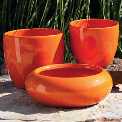 ZiaBella - Orange Round Pot Set - Add a touch of timeless style to décor with this pot set. Filled with freshly cut stems, these pots are sure to brighten up your room or outdoor space.   Includes three pots 4.5'' to 5.5'' W x 5.25 to 6'' H Faux silk / twig Imported