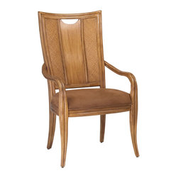 American Drew - American Drew Antigua Splat Back Arm Chair in Toasted Almond - Set of 2 - Antigua combines popular materials, finishes, hardware and shapes and blends them with pieces for today's lifestyles. It is a collection sure to add a sophisticated coastal or tropical flare to any home. Unique options for bedroom make it easy to create the perfect setting that fits your style.
