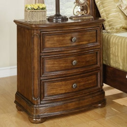 Avonlea 3 Drawer Nightstand - Normandy - TheAvonlea 3 Drawer Nightstand – Normandy provides regal and stately bedside storage is ideal for your traditional home. Made of pine/burl veneers and pine solids, this striking nightstand features a rich and warm Normandy finish. Accenting this piece are knob pull hardware, three storage drawers, and sleek, traditional beveled edges.About Wynwood FurnitureAt Wynwood, designing unique and useful furniture is the goal. The company's own fashion consultants scour the globe for distinctive woods and eye-catching designs before bringing their findings back home to talented designers who set about creating beautiful pieces. The designs are then moved into production, where Wynwood specializes in ensuring all collections are both stunning and useful, giving every piece a thorough going-over that results in inimitable style, impeccable construction, and unequaled functionality.