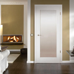 "Wood Doors - ""Townhome"" - ""Townhome"" is a European edge style door in Bartels ultra smooth white painted finish.  European edge is the traditional European door style which has an edge that overlaps the casing, this small design change over the American styles allow light and sound to be lessened and maximizes the walk through space."