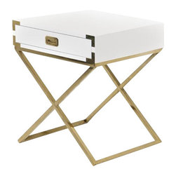 Jet Setter X Base Side Table in Brass - The Jet Setter Side Table shows just what a seasoned traveler you really are. With fixtures reminiscent of steamer trunks and luxurious trips abroad, this vintage inspired piece will give you a serious case of wanderlust. Finished in high gloss white lacquer, brass hardware and brass X-legs.