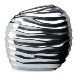 Lenox - Donna Karan Lenox Sculpted Metal Vase - Decorate with natural brilliance. This vase's design is inspired by the earth's natural ridges, but made of high-gloss aluminum to project a modern allure.