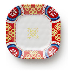 Q Squared NYC - Montecito Red Appetizer Plate, Border Set/6 - Transport your dining table to historical Montecito with the beautiful, vibrant colors of this collection, inspired by the intricate tiles and textures of the romantic city.