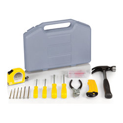 Picnic Time - Necessities Tool Kit - Dark Grey with Silver - The Necessities Tool Kit includes the tools that are essential for basic home maintenance and repairs. The kit comes in Grey molded plastic compact carrying case The Necessities Tool Kit makes a thoughtful gift for a college student, new homeowner, or anyone who likes do-it-yourself projects.
