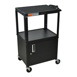 H. Wilson - 42 in. Adjustable AV Cabinet Cart w Cabinet i - Includes two sets of keys. Full piano hinge door cabinet. Three outlet electrical assembly with 15 ft. cord. Non-slip rubber mat for top shelf. Arc-welded shelves. Top and middle shelves holes for cable management. Four 4 in. full swivel ball bearing casters, two with locking brake. 0.25 in. retaining lip around each shelf. Weight capacity: Up to 200 lbs.. Cabinet made from 18 gauge steel. 24 in. L x 18 in. W x 24 in. - 42 in. H. Warranty. Assembly Instructions