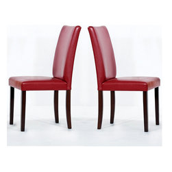 Warehouse of Tiffany - Warehouse of Tiffany Shino Red Faux Leather Dining Chairs (Set of 2) - These stylish red leather dining chairs would be an ideal addition to your dining room. Finished in beautiful light cappuccino,these striking oak wood chairs combine style and practicality for a classic and comfortable dining experience.