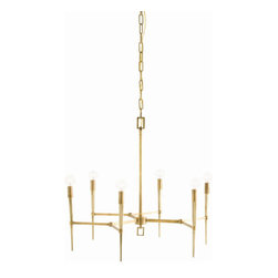 "Arteriors - Arteriors Home Auburn 6-Light Antique Brass Chandelier 89295 - Arteriors Home - Auburn 6L Antique Brass Chandelier - 89295 Features: Auburn Collection ChandelierGeometrically inspired silhouette with torch-like tapered armsAntique brass finishModern 6-light chandelier Some Assembly Required. Dimensions: H 27"" x 27"" Dia"