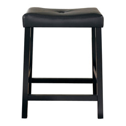 "Crosley - Upholstered Saddle Seat Bar Stool - Comfort and Style combined.  The Upholstered Saddle Seat Stool features solid hardwood construction.  The cushioned saddle seat is upholstered in faux leather pvc, that is stain and spill resistant.  The 24"" height make this stool perfect for a 36"" height dining table or counter seating."