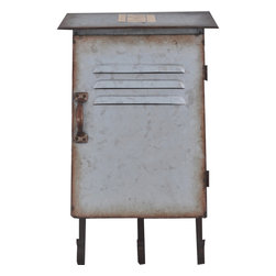 Enchante Accessories Inc - Galvanized Steel Metal Wall Mailbox with 3 Coat Hooks, Steel - Metal Mailbox Coat Rack Distressed steel finish with a rustic, casual lookGreat for storing keysCan be wall mounted in an entry way, hallway, or mud room to create convenient wall storageMeasures 9.5 in. x 4.5 in. x 16.3 in.Hang coats, hats, keys, and handbags upon entering your home with this rustic steel coat rack with hooks.  The Distressed steel Coat Rack with 3 hooks is made from galvanized steel and features a rustic finish with distressed edges that age the piece and give it a vintage, weather-beaten look.  The neutral  finish makes this coat rack versatile enough for use in any casual or contemporary entry way, hallway, or mud room.Encourage kids, spouses, roommates, and guests to hang up their coats when they enter your home by hanging this decorative distressed coat rack right by the door.  In an entranceway, this rack can be used to hang all sorts of coats and jackets, scarves, gloves, hats, handbags, or even small accessories such as keys and wallets with wrist straps.  It can also be used to hold umbrellas, shopping totes, or other items that you need to keep near the door.  The double hooks allow you to hang layers of items and add convenient storage space in a small apartment or in a home that doesn't have a hallway storage closet.  A great alternative to a traditional standing coat rack, this wall mounted coat rack lets you to turn an unused wall into a smart storage space. This coat rack can also be hung on the back of a bathroom door to hold towels and robes or mounted to a closet door to hold belts, scarves, handbags, and other accessories that can easy clutter a closet.  Wherever you choose to hang it, this rack offers rustic style and brings a touch of vintage inspired charm to your space.