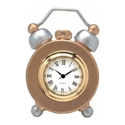 WL - 2 Inch Old Time Gold and Silver Rounded Footed Quartz Alarm Clock - This gorgeous 2 Inch Old Time Gold and Silver Rounded Footed Quartz Alarm Clock has the finest details and highest quality you will find anywhere! 2 Inch Old Time Gold and Silver Rounded Footed Quartz Alarm Clock is truly remarkable.